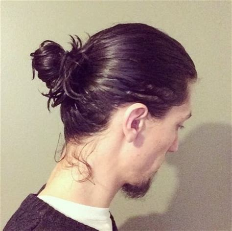 Long Wavy Hair in Man Bun: Before and After Pictures - Man