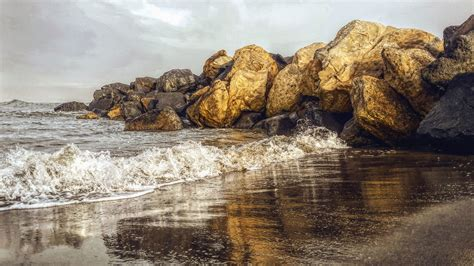 Free picture: sea, wave, reflection, stone, sand, beach